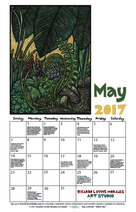 May 2017 free printable monthly calendar from Ricardo Levins Morales Art Studio