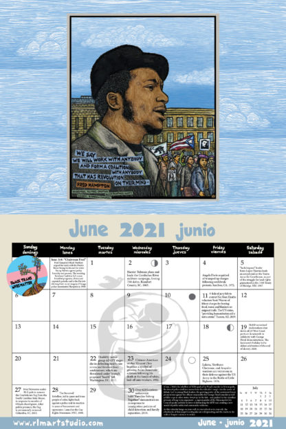 """Ricardo Levins Morales 2021 Liberation Calendar June spread. Features Fred Hampton's rainbow coalition, a """"black trans live matter"""" button, and a background of two figures in an embrace. This page also finished an account of 2020's George Floyd rebellion in Minneapolis."""