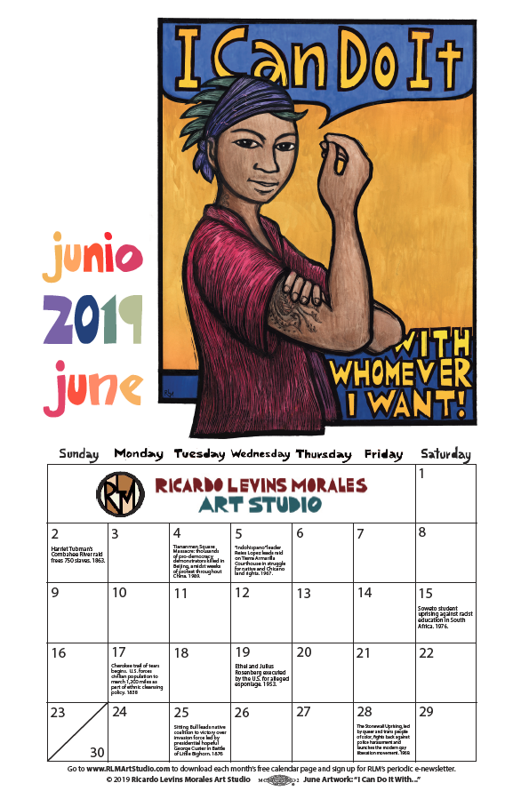 June 2019 monthly calendar, artwork by Ricardo Levins Morales
