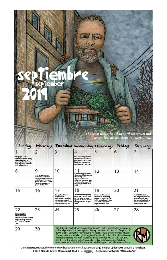 September 2019 monthly calendar, artwork by Ricardo Levins Morales