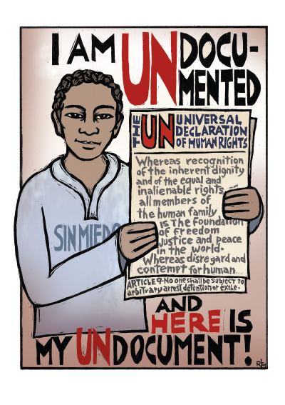 UN-Document - Ricardo Levins Morales Immigrant Rights Poster
