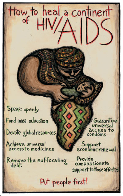 How to Heal a Continent - Africa HIV/AIDS Poster by Ricardo Levins Morales