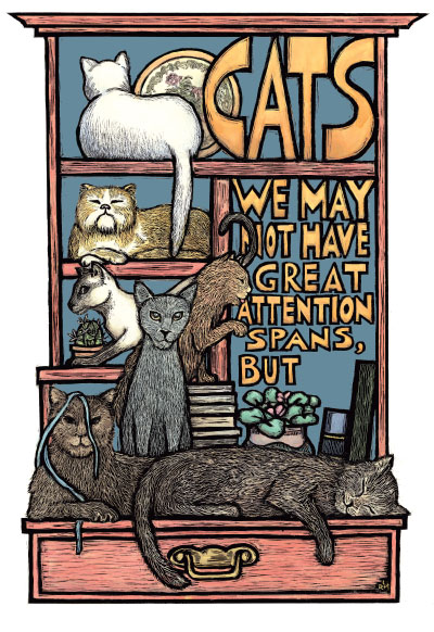 Cats - Lazy Pets Humor Poster by Ricardo Levins Morales