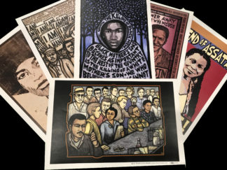 Black History poster pack featuring a spread of 6 posters of Black resistance and liberation
