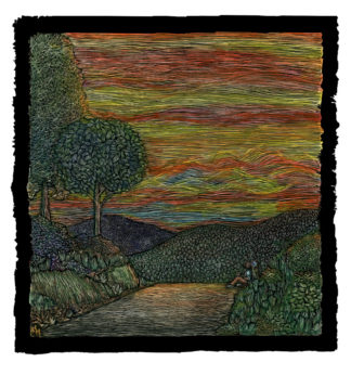 Landscape of a red, orange, yellow sky, trees, and hills. A dirt road with a figure resting on the side. Original artwork by Ricardo Levins Morales