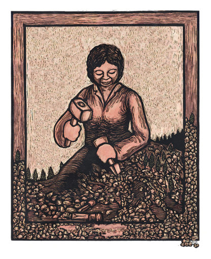 "An illustration of a woman carving herself out a mountain. Titled ""Self Made Woman"" by Ricardo Levins Morales."