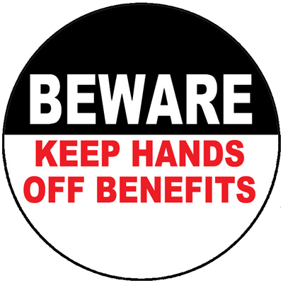 Beware Hands Off Benefits - Button by RLM Arts