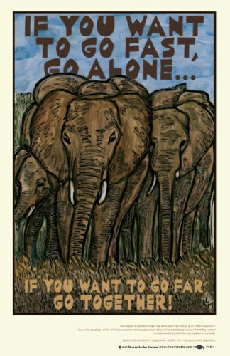 Go Far Go Together Elephants Poster
