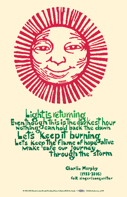 Light is Returning - Charlie Murphy lyrics poster with red sun