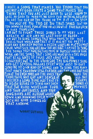 Woody Guthrie Poster by Ricardo Levins Morales