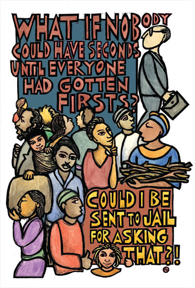 Firsts - Economic Justice Poster by Ricardo Levins Morales