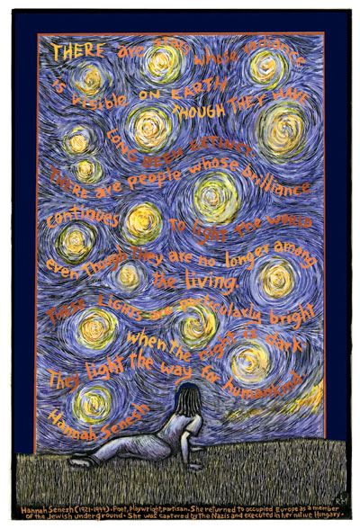 There are Stars - Hannah Sanesh Remembrance Poster by Ricardo Levins Morales
