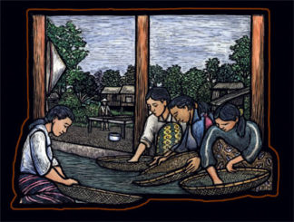 Washing the Harvest - Coffee Artwork by Ricardo Levins Morales