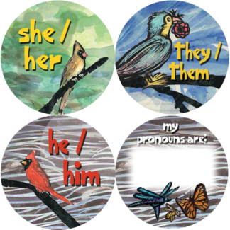 Preferred Pronoun Pin Buttons - He, She, They, Blank