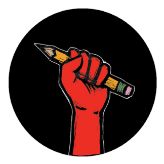 Teacher Fist - Button by Ricardo Levins Morales Art Studio